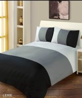 BLACK & GREY COLOUR DUVET COVER MICROFIBER BEDDING SET